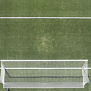 An ariel view of the penalty area, six yard box, goal and goal mouth of a professional football pitch. Photo Tim Clayton