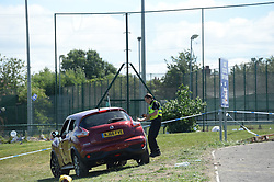 © Licensed to London News Pictures. 25/06/2017. NEWCASTLE UPON TYNE, UK. Police gather evidence at the scene of a fatal car crash at the Westgate Sports Centre on West Road, Newcastle on 25th June 2017. A car hit worshippers leaveing Eid prayers at there are believed to be at least six people hurt in the incidentc. A 42 year old woman was arrested at the scene. Photo credit: MARY TURNER/LNP