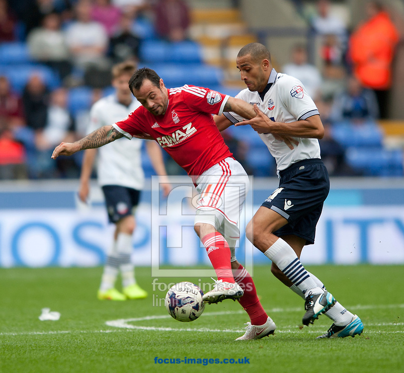 Andy Reid of Nottingham Forest holds off Darren Pratley of Bolton Wanderers during the Sky Bet Championship match at the Macron Stadium, Bolton<br /> Picture by Russell Hart/Focus Images Ltd 07791 688 420<br /> 16/08/2014