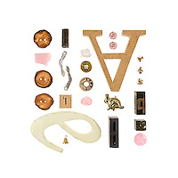 """Letter Dance is one of two """"portraits"""" I did for Danielle Krysa of The Jealous Curator. The objects are ones she selected that have personal meaning for her. Prints are only available for sale through her shop: http://great.ly/t/jealouscurator/products/9598"""