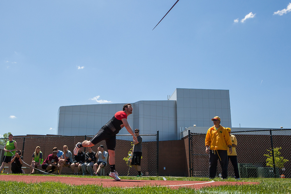Rutgers Newark's Nick DeRosa competes in the men's javelin  at the NJAC Track and Field Championships at Richard Wacker Stadium on the campus of  Rowan University  in Glassboro, NJ on Sunday May 5, 2013. (photo / Mat Boyle)