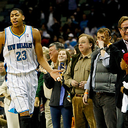 Jan 7, 2013; New Orleans, LA, USA; New Orleans Hornets power forward Anthony Davis (23) celebrates with fans after a win over the San Antonio Spurs in a game at the New Orleans Arena. The Hornets defeated the Spurs 95-88. Mandatory Credit: Derick E. Hingle-USA TODAY Sports