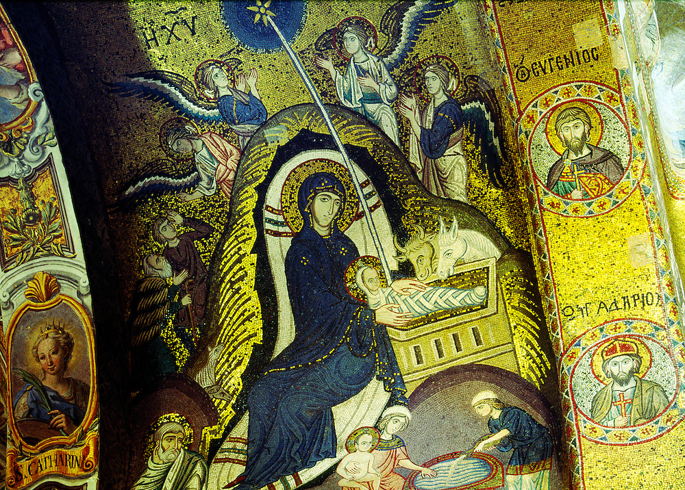 Mosaic nativity scene in the Nave vault of La Martorana Mediaeval church in the city of Palermo, Sicily, Italy