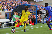 Harrison Afful #25 of the Columbus Crew controls the ball during a MLS soccer game, Sunday, Aug 25th, 2019, in Cincinnati, OH. (Jason Whitman/Image of Sport)