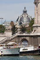 Pont Alexandre III and tourist boats in Paris France in Spring time of May 2008