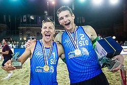 Winners Tadej Bozenk and Blaz Jakopin of Slovenia at Beach Volleyball Challenge Ljubljana 2019, on August 4, 2019 in Kongresni trg, Ljubljana, Slovenia. Photo by Grega Valancic / Sportida