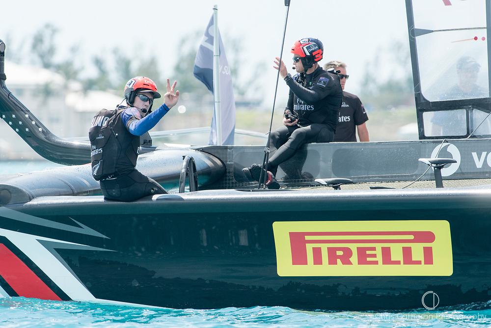 The Great Sound, Bermuda, 17th June Emirates Team New Zealand helmsman Peter Burling signals two down after crossing the finish to beat  Defender, Oracle Team USA in race two of the America's Cup.