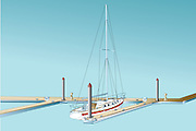 A vector illustration showing a sailboat docked at a marina.