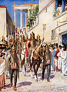 Alaric I (c370-410), king of Visigoths from 495, entering  Athens 395.  Leader of gothic auxiliaries of Theodosius I, Emperor of the East. Illustration c1920.