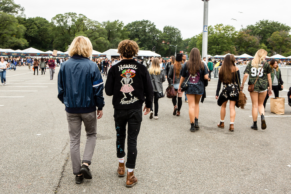 Queens, NY - October 2, 2016. Max Harwood (L) and Danny Miller of the band Lewis del Mar at The Meadows festival at Citi Field.