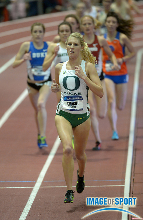 Mar 14, 2014; Albuquerque, NM, USA; Molly Grabill of Oregon competes in the womens 5,000m in the 2014 NCAA Indoor Championships at Albuquerque Convention Center.