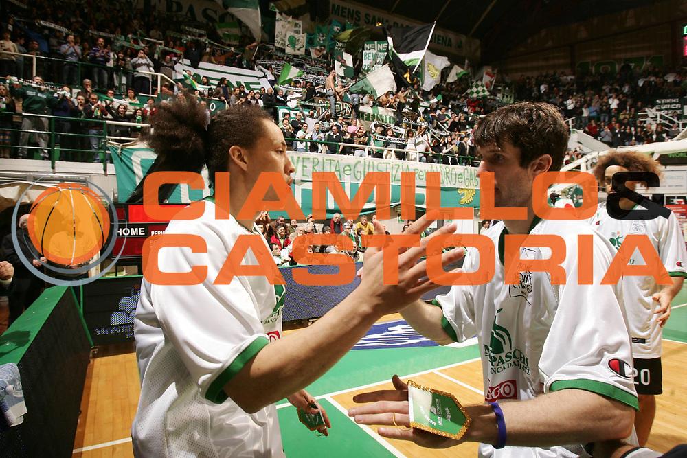 DESCRIZIONE : Siena Eurolega 2007-08 Top 16 Montepaschi Siena Panathinaikos Atene <br /> GIOCATORE : Hector Romero Drake Diener <br /> SQUADRA : Montepaschi Siena <br /> EVENTO : Eurolega 2007-2008 <br /> GARA : Montepaschi Siena Panathinaikos Atene <br /> DATA : 27/02/2008 <br /> CATEGORIA : Ritratto Esultanza <br /> SPORT : Pallacanestro <br /> AUTORE : Agenzia Ciamillo-Castoria/P.Lazzeroni