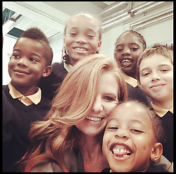 Eastenders actress Patsy Palmer's selfie as she joins pupils for breakfast on a visit to Laycock Primary School in Islington, London, to take part in London's Biggest Breakfast. Thursday, 22nd May 2014. Picture by  i-Images.<br /> <br /> Patsy Palmer goes back to school to host a hearty breakfast in support of 'London's Biggest Breakfast Campaign' <br /> <br /> The EastEnders Actress is having breakfast with children from Laycock Primary School Breakfast Club in Islington to raise money for London youth charity, the Mayor's Fund for London.