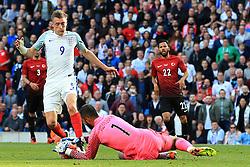 England's Jamie Vardy challenges Turkey goalkeeper Volkan Babacan - Mandatory byline: Matt McNulty/JMP - 07966386802 - 22/05/2016 - FOOTBALL - Etihad Stadium -Manchester,England - England v Turkey - International Friendly