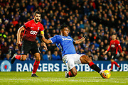 Alfredo Morelos of Rangers stretches to get to the ball on the edge of the Kilmarnock box during the Ladbrokes Scottish Premiership match between Rangers and Kilmarnock at Ibrox, Glasgow, Scotland on 31 October 2018.
