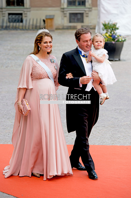 13-6-2015 STOCKHOLM   Princess Madeleine and Princess Leonore and Chris O'neill  arrival of  for  .The wedding of Prince Carl Philip and Sofia Hellqvist  at the  Royal palace in Stockholm .COPYRIGHT ROBIN UTRECHT