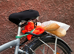 Baguette of bread on back of bicycle, Sunday outdoorflea market in L'Isle-sur-la-Sorgue, Provence, France.