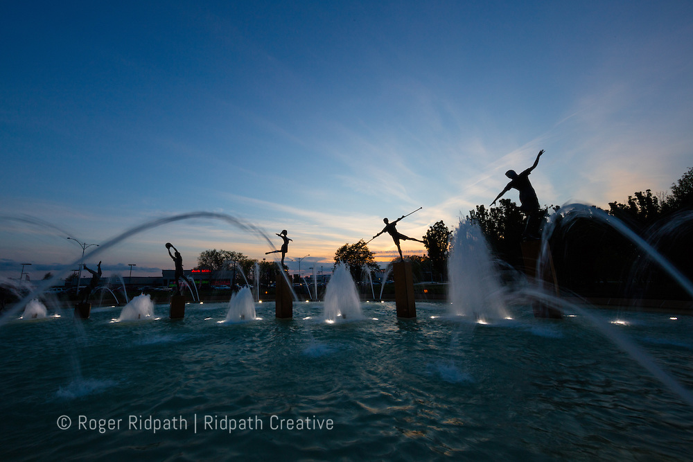 Children's Fountain near dark Kansas City Missouri