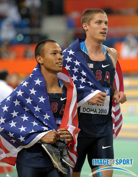 Mar 13, 2010; Doha, QATAR; Bryan Clay (left) and Trey Hardee (USA) take a victory lap after finishing first and second in the heptathlon with 6,204 and 6,184 points, respectively, in the IAAF World Championships in Athletics at the Aspire Dome.