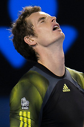 © Licensed to London News Pictures. 25/01/2013. Melbourne Park, Australia. A frustrated Andy Murray disappointed after losing a point during the Mens Semi Final between Andy Murray Vs Roger Federer of the Australian Open. Photo credit : Asanka Brendon Ratnayake/LNP
