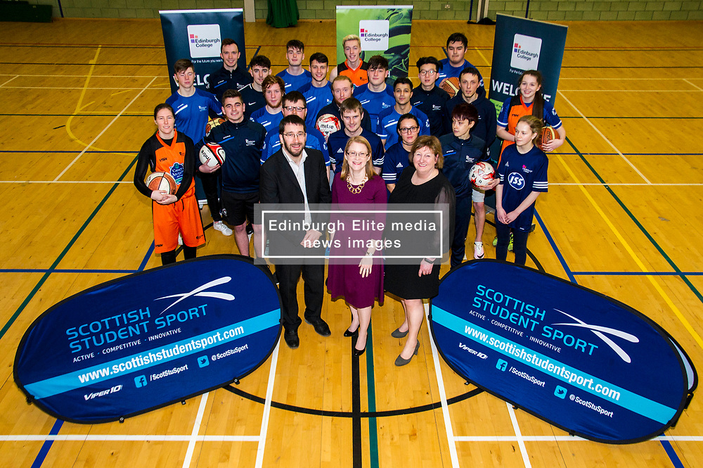 Pictured: Stew Folie, Scottish Student Sport, Shirley-Anne Somerville and College Principal Annette Brunton with some of the studnets who will benefit from the additional funds being made available<br /> <br /> Further and Higher Education Minister Shirley-Anne Somerville visited Edinburgh College's Granton campus to view the sport facilities and to announce a new GBP465,000 investment fund for the student sport sector.<br /> <br /> Ger Harley | EEm 8 February 2018