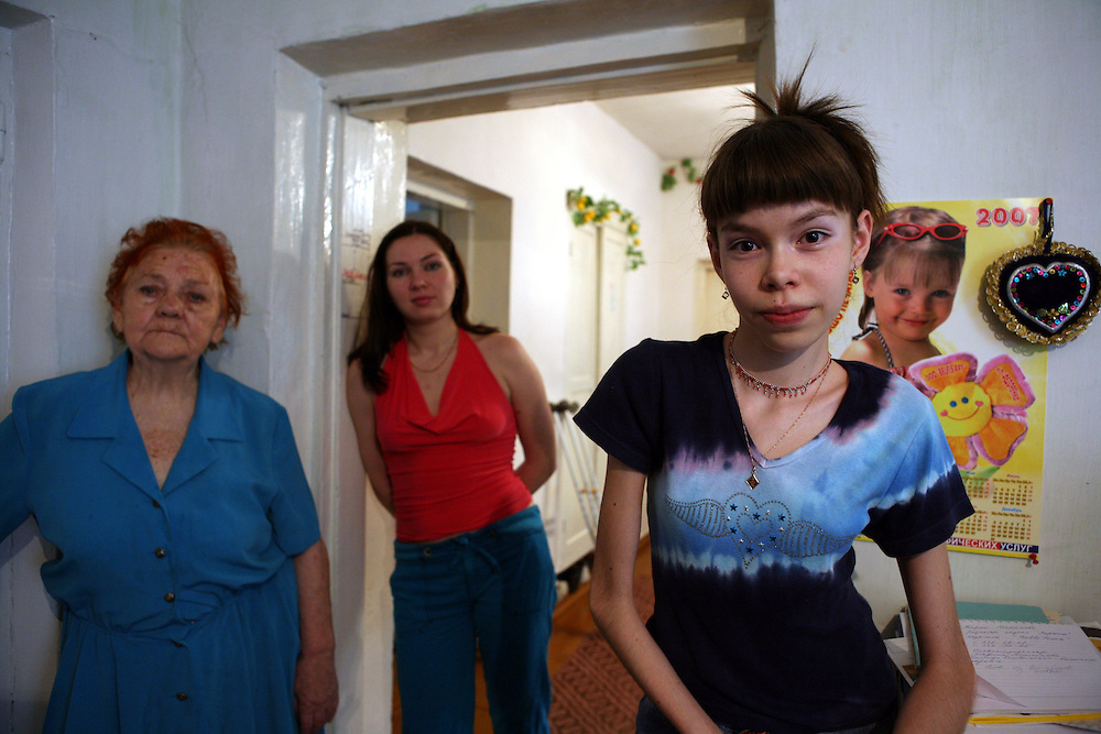 Natalia's family in their home in the suburbs of Tashkent