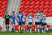 Featherstone Rovers winger Shaun Robinson (2) celebrates scoring the final try of the game during the Challenge Cup 2018 match between Doncaster and Featherstone Rovers at the Keepmoat Stadium, Doncaster, England on 22 April 2018. Picture by Simon Davies.