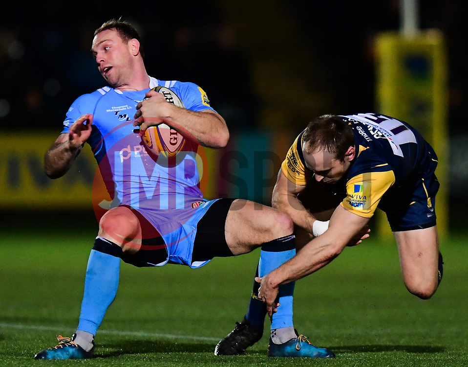 Greig Tonks of London Irish is tackled by Chris Pennell of Worcester Warriors - Mandatory by-line: Alex Davidson/JMP - 22/12/2017 - RUGBY - Sixways Stadium - Worcester, England - Worcester Warriors v London Irish - Aviva Premiership