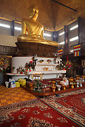 Offerings given by Cambodian buddhists during the Khmer New Year celebrations in the Great Pagoda of the Bois de Vincennes, in the 12th arrondissement of Paris, France, photographed on 14th April 2019. This is the largest buddha statue in Europe at 9m high, and is covered in gold leaf. Cambodians celebrate the entrance of the sun to the constellation of the ram, marking the beginning of the Buddhist year 2563. Khmer New Year or Chaul Chnam Thmey marks the end of the dry season and Cambodians celebrate by bringing offerings to temples or wats. Picture by Manuel Cohen