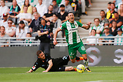 STOCKHOLM, SWEDEN - MAY 16: Nikola Djurdjic of Hammarby is fouled bt Lasse Nielsen of Malmo FF during the Allsvenskan match between Hammarby IF and Malmo FF at Tele2 Arena on May 16, 2018 in Stockholm, Sweden. Photo by Nils Petter Nilsson/Ombrello ***BETALBILD***