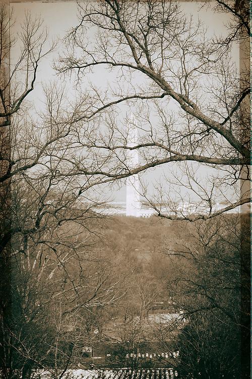 View of Washington Memorial from Arlington Cemetery.