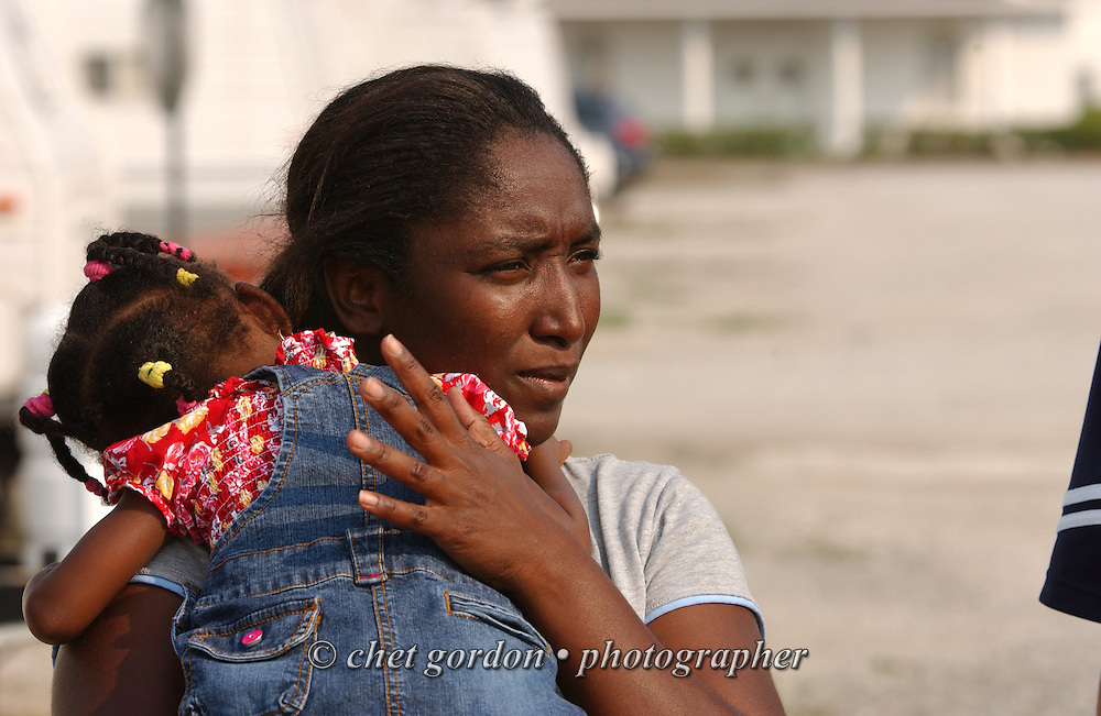 Hurricane Katrina survivor Yaleca Shelby (25) with her daughter Karima (18 months) at a FEMA trailer park on the grounds of the Calling All Christians Church in Moss Point, MS on Monday, June 26, 2006.