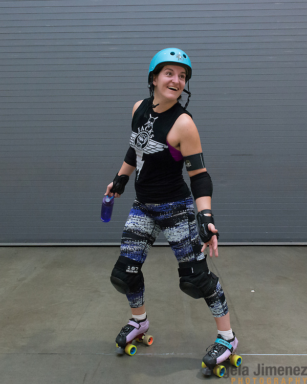 Sampson (Chrissy Sampson) of the Minnesota RollerGirls All-Star team poses for a portrait after practice in Exhibit Hall B at the Saint Paul RiverCentre in Saint Paul, Minnesota on November 3, 2015. <br /> <br /> The team is preparing to compete in, and host, the 2015 International WFTDA Championships at the Legendary Roy Wilkins Auditorium here in Saint Paul, Minnesota from November 6-8, 2015. <br />  <br /> Photo by Angela Jimenez for Minnesota Public Radio www.angelajimenezphotography.com