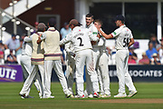 Wicket - Craig Overton of Somerset celebrates taking the wicket of Steven Croft of Lancashire during the Specsavers County Champ Div 1 match between Somerset County Cricket Club and Lancashire County Cricket Club at the Cooper Associates County Ground, Taunton, United Kingdom on 5 September 2018.