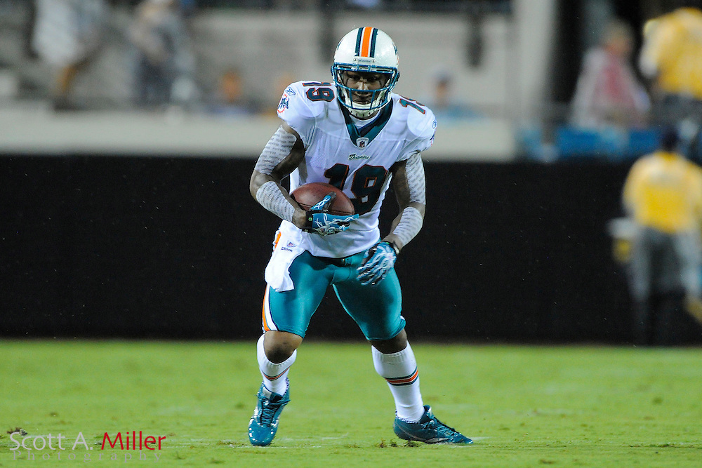 Aug. 21, 2010; Jacksonville, FL, USA; Miami Dolphins wide receiver Brandon Marshall (19) in action against the Jacksonville Jaguars at EverBank Field. ..©2010 Scott A. Miller