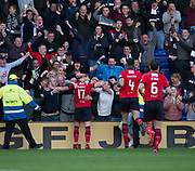 8th May 2018, Global Energy Stadium, Dingwall, Scotland; Scottish Premiership football, Ross County versus Dundee; Simon Murray of Dundee celebrates after scoring
