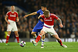 Adam Clayton of Middlesbrough tackles Diego Costa of Chelsea - Mandatory by-line: Jason Brown/JMP - 08/05/17 - FOOTBALL - Stamford Bridge - London, England - Chelsea v Middlesbrough - Premier League
