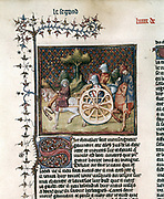 Gauthier 'Le roman of Lancelot du Lac' 'The Knight in the Cart (Lancelot)' based on the tale (c1165-80) by Chretien de Troyes  Lancelot, having fallen in love with Guinevere, sets out on a journey committed to do whatever he is told without question. Meets old man who tells him to get into cart. Hesitates as only peasants travel in carts. Because of hesitation has to redeem himself by carrying out a number of tasks. Only one of Chretien's tales that refers to adultery. French manuscript, 1344. Bibliotheque Nationale, Paris.