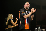 Raymond van Barneveld takes to the stage during the Premier League Darts  at the Motorpoint Arena, Cardiff, Wales on 31 March 2016. Photo by Shane Healey.