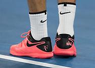 Nahaufnahme von ROGER FEDERER Schuhe mit Aufdruck, Flinders Street Station und die Nummer 5<br /> <br /> Tennis - Australian Open 2018 - Grand Slam / ATP / WTA -  Melbourne  Park - Melbourne - Victoria - Australia  - 28 January 2018.