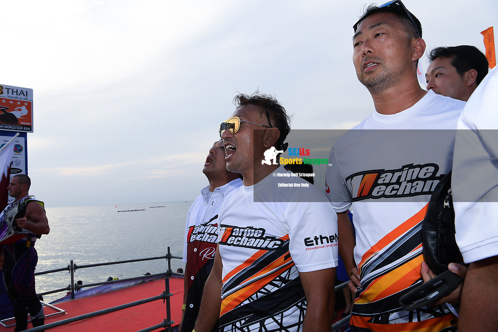 PATTAYA, THAILAND - DECEMBER 09: Hajime Isahai (J87) of Japan and Marine Mechanic during the Royal Trophy presentation for the Pro Runabout GP at the Thai Airways International Jet Ski World Cup 2018, Jomtien Beach, Pattaya, Thailand on December 09, 2018. <br /> .<br /> .<br /> .<br /> (Photo by: Naratip Golf Srisupab/SEALs Sports Images)<br /> .<br /> Any image use must include a mandatory credit line adjacent to the content which should read: Naratip Golf Srisupab/SEALs Sports Images
