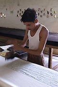 India, Rajasthan, Pushkar, Block-printing involves printing of cloth with carved wooden blocks.
