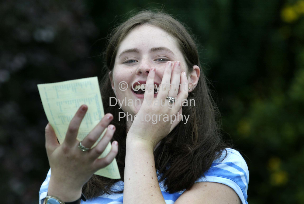 14/8/2002 .Edel Quinn from Kilmacow county Kilkenny pictured yesterday with her leaving cert results where she got 6 1A's.Edel goes to the Mercy School in Waterford..Picture Dylan Vaughan