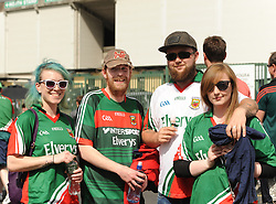 Mayo supporters Steph Murtagh, Brendan Grealis, Matt Moran and Louise Dooley at the Gaelic grounds.<br /> Pic Conor McKeown