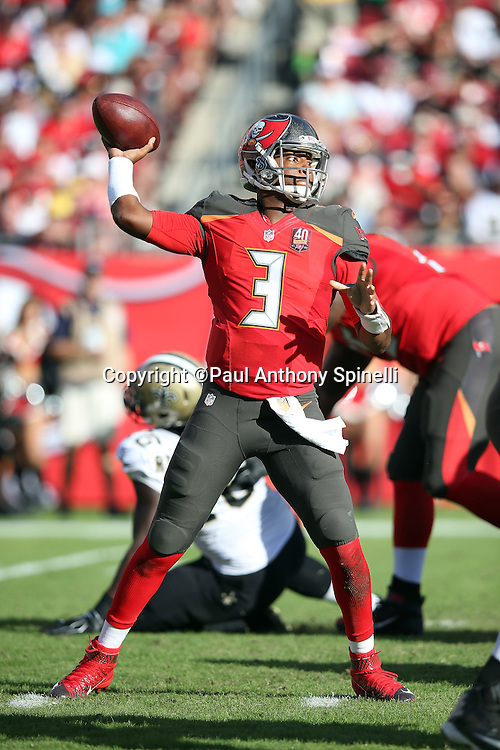 Tampa Bay Buccaneers quarterback Jameis Winston (3) throws a pass during the 2015 week 14 regular season NFL football game against the New Orleans Saints on Sunday, Dec. 13, 2015 in Tampa, Fla. The Saints won the game 24-17. (©Paul Anthony Spinelli)