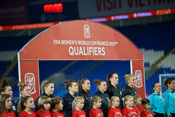 CARDIFF, WALES - Friday, November 24, 2017: Wales players line-up before the FIFA Women's World Cup 2019 Qualifying Round Group 1 match between Wales and Kazakhstan at the Cardiff City Stadium. Hayley Ladd, Kayleigh Green, Loren Dykes, goalkeeper Laura O'Sullivan, captain Sophie Ingle. (Pic by David Rawcliffe/Propaganda)