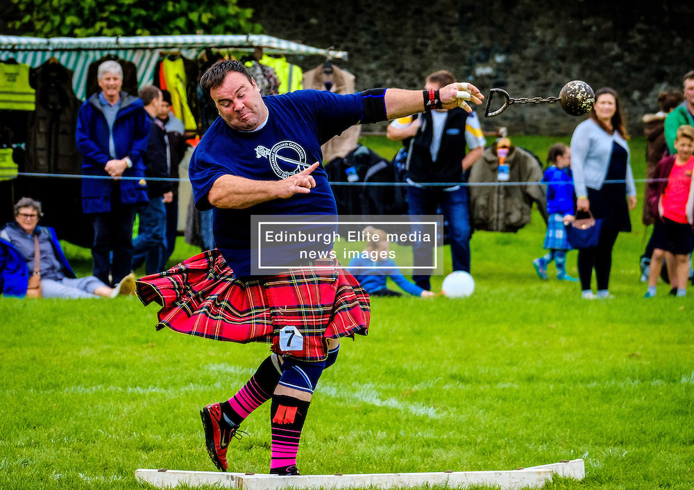 Peebles, Scotland UK  3rd September 2016. Peebles Highland Games, the biggest 'highland' games in the Scottish  Borders took place in Peebles on September 3rd 2016 featuring pipe band contests, highland dancing competitions, haggis hurling, hammer throwing, stone throwing and other traditional events.<br />   <br /> Pictured:  a competitor throwing the ball and chain<br /> <br /> (c) Andrew Wilson   Edinburgh Elite media