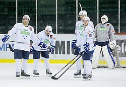 Bostjan Golicic, Klemen Pretnar, Ziga Pavlin, Ken Ograjensek, Gasper Kroselj  during practice session of Slovenian National Ice Hockey Team prior to the IIHF World Championship in Ostrava (CZE), on April 21, 2015 in Hala Tivoli, Ljubljana, Slovenia. Photo by Vid Ponikvar / Sportida