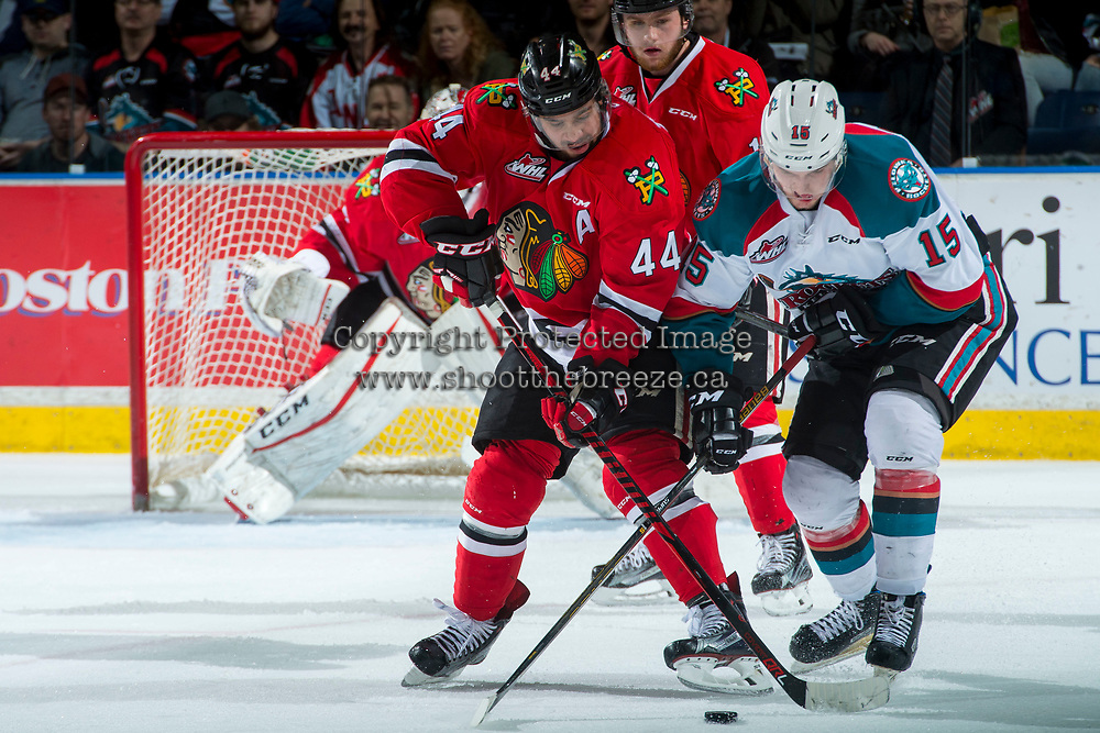 KELOWNA, CANADA - APRIL 7: Keoni Texeira #44 of the Portland Winterhawks stick checks Tomas Soustal #15 of the Kelowna Rockets on April 7, 2017 at Prospera Place in Kelowna, British Columbia, Canada.  (Photo by Marissa Baecker/Shoot the Breeze)  *** Local Caption ***