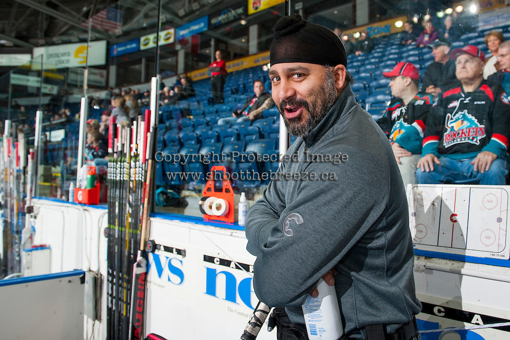 KELOWNA, CANADA - FEBRUARY 18: Prince George Cougars' equipment manager Ramandeep S. Dhanjal (Chico) stands on the bench during warm up against the Kelowna Rockets on February 18, 2017 at Prospera Place in Kelowna, British Columbia, Canada.  (Photo by Marissa Baecker/Shoot the Breeze)  *** Local Caption ***